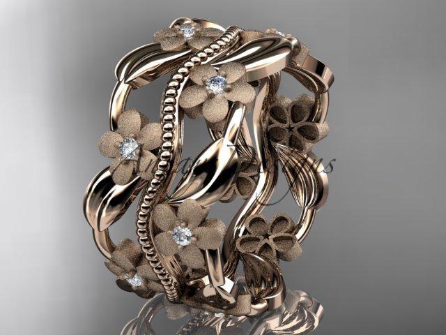 14kt rose  gold diamond leaf and vine wedding band, engagement ring ADLR188B