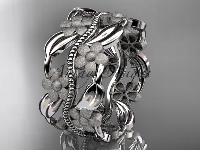 14kt white gold leaf and vine wedding band, engagement ring ADLR188G
