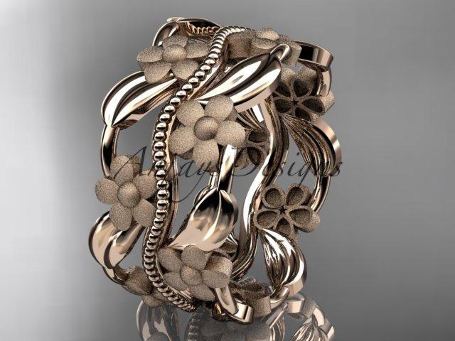 14kt rose gold leaf and vine wedding band, engagement ring ADLR188G