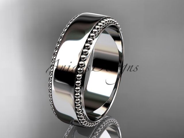 14kt white gold leaf and vine wedding band, engagement ring ADLR380G