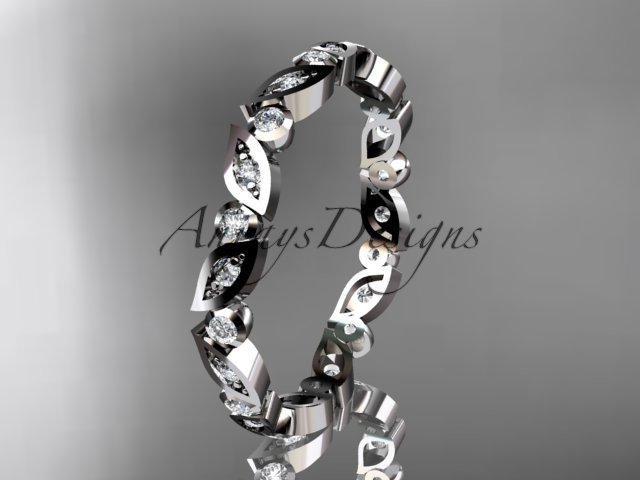 Platinum  diamond leaf and vine wedding band,engagement ring ADLR13B