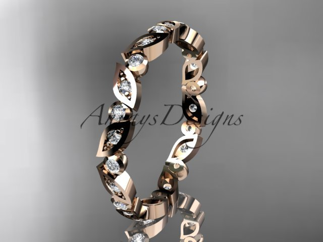 14k rose gold diamond leaf and vine wedding band,engagement ring ADLR13B