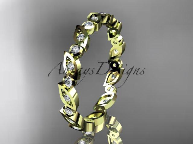 14k yellow gold diamond leaf and vine wedding band,engagement ring ADLR12B
