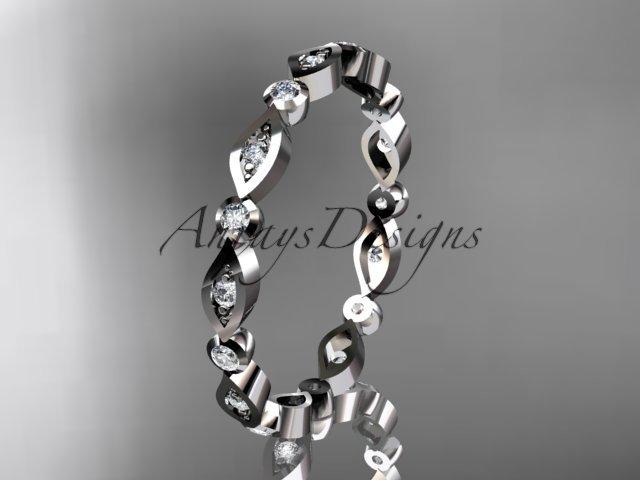 14k white gold diamond leaf and vine wedding band,engagement ring ADLR11B