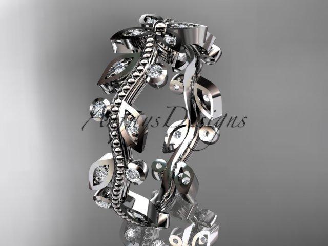 14k white gold diamond leaf and vine wedding ring, engagement ring, wedding band ADLR3A