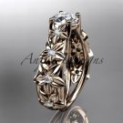 14kt rose gold engagement ring with a Forever One Moissanite center stone ADLR149