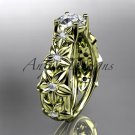 14kt yellow gold diamond floral wedding ring, engagement ring ADLR149