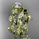 14k yellow gold diamond engagement ring, engagement set ADLR151