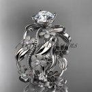 14kt white gold diamond leaf and vine wedding ring, engagement ring ADLR188