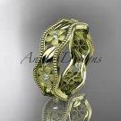 14kt yellow gold diamond flower wedding ring engagement ring wedding band ADLR190