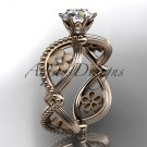 14kt rose gold engagement ring with aForever One Moissanite  center stone ADLR192