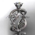 "14kt white gold diamond engagement ring with a ""Forever Brilliant"" Moissanite center stone ADLR192"