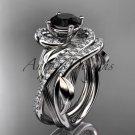 Platinum diamond engagement set with a Black Diamond center stone ADLR222