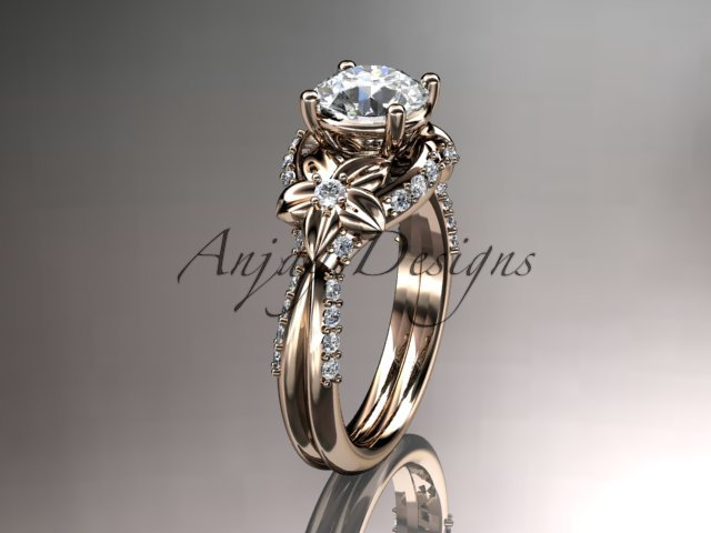 "14kt rose gold diamond engagement ring with a ""Forever Brilliant"" Moissanite center stone ADLR221"