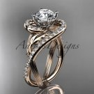 14kt rose gold diamond engagement ring with a Forever One Moissanite  center stone ADLR222