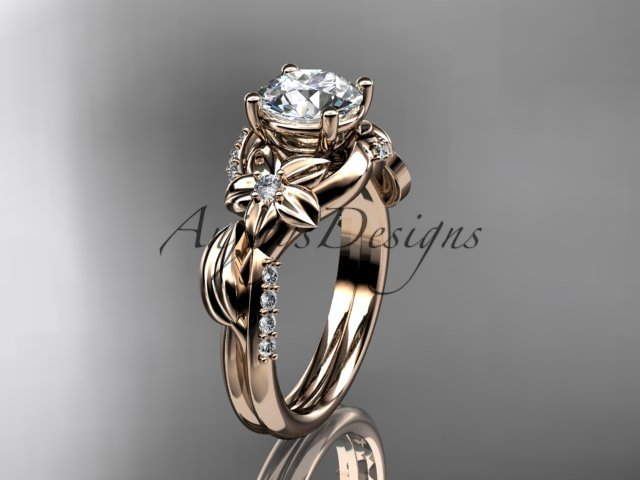 14k rose gold diamond engagement ring with a Forever One Moissanite  center stone ADLR224