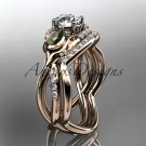 14kt rose gold diamond leaf and vine engagement set ADLR226