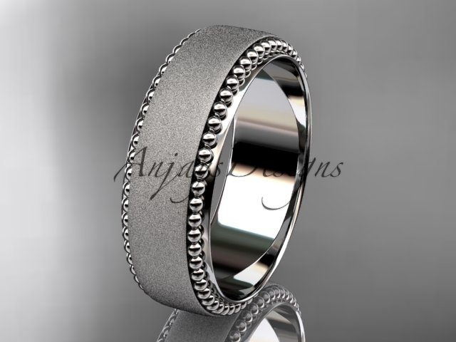 14kt white gold matte finish classic wedding band, engagement ring ADLR380G