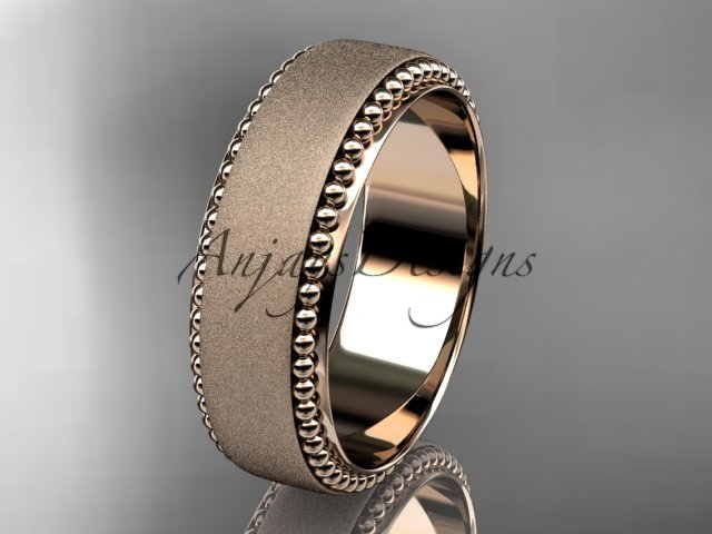 14kt rose gold matte finish classic wedding band, engagement ring ADLR380G
