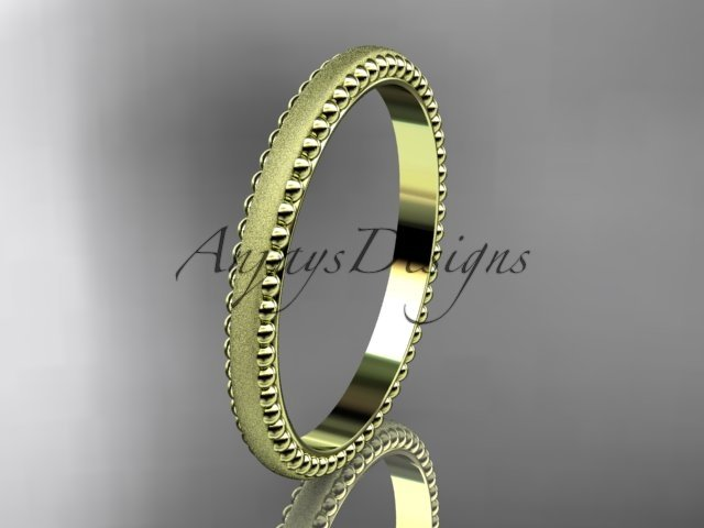 14kt yellow gold matte finish classic wedding band, engagement ring ADLR384G