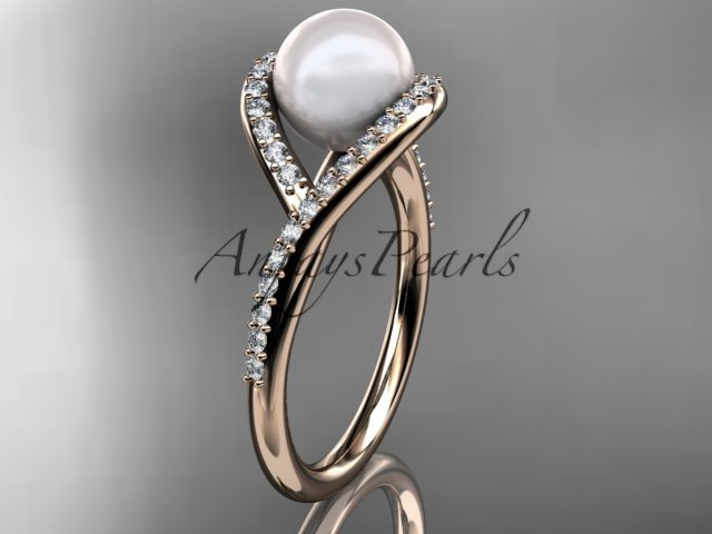 14kt rose gold diamond pearl unique engagement ring, wedding ring AP383