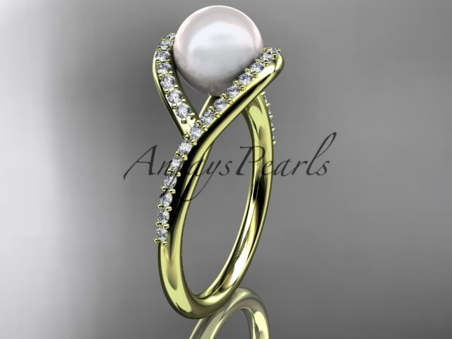 14kt yellow gold diamond pearl unique engagement ring, wedding ring AP383