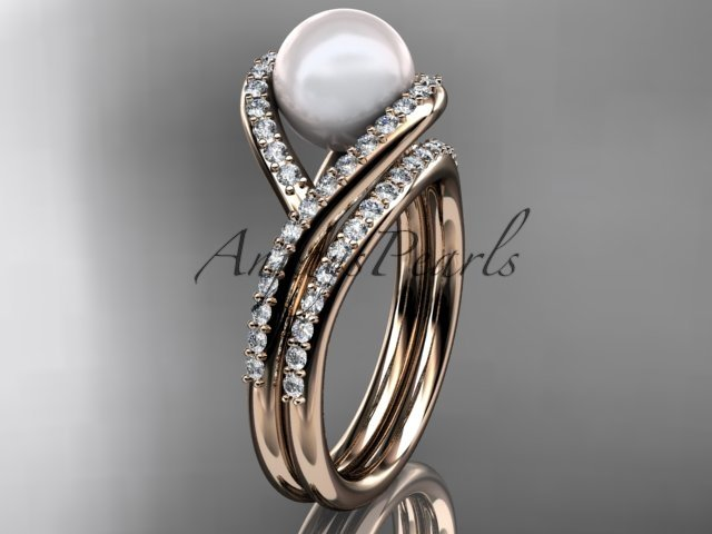 14kt rose gold diamond pearl unique engagement set, wedding ring AP383S