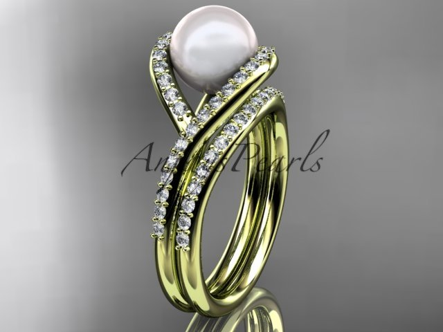 14kt yellow gold diamond pearl unique engagement set, wedding ring AP383S