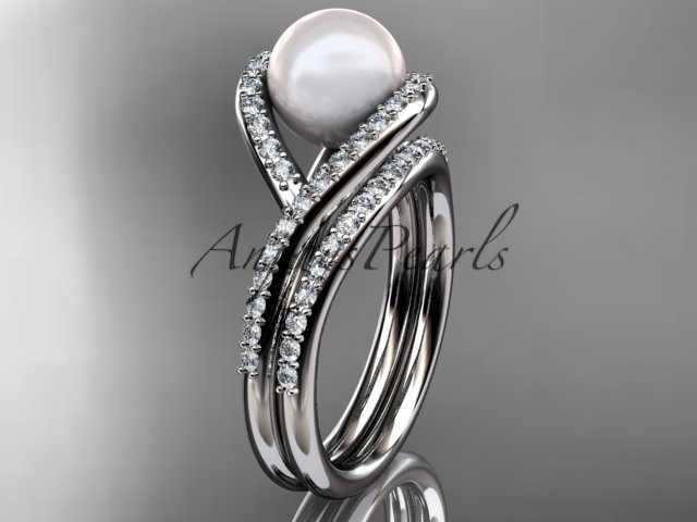 Platinum  diamond pearl unique engagement set, wedding ring AP383S