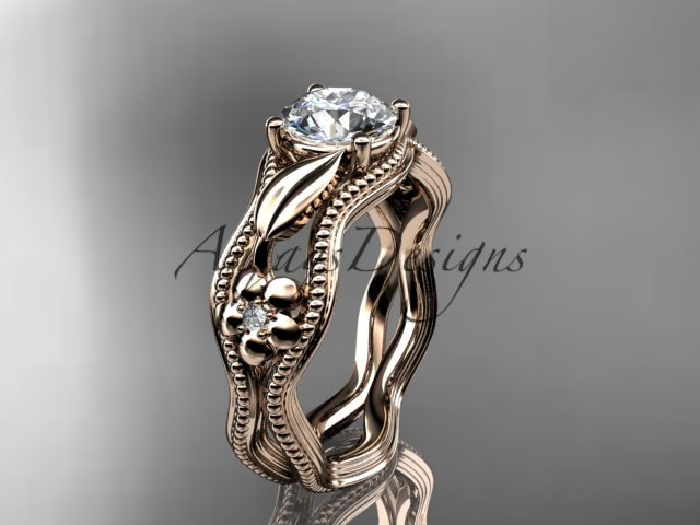 14k rose gold leaf and flower diamond unique engagement ring ADLR382