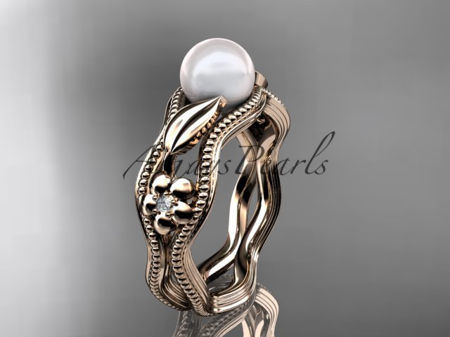 14kt rose gold diamond pearl flower, leaf and vine engagement ring AP382