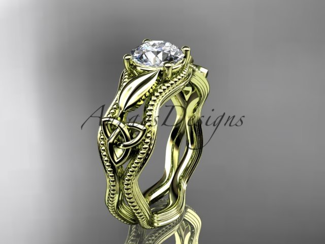 14kt yellow gold diamond celtic trinity knot wedding ring, engagement ring CT7382
