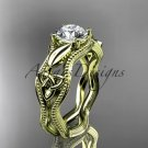 14kt yellow gold diamond celtic trinity knot engagement ring with a  Moissanite center stone CT7382