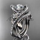 14k white gold leaf and flower diamond unique engagement set, wedding ring ADLR369S