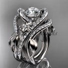 14kt white gold diamond leaf and vine engagement ring with double matching band ADLR369S