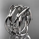 14kt white gold leaf and vine, flower wedding ring,wedding band ADLR352G