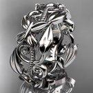 Platinum  leaf and vine, butterfly wedding ring,wedding band ADLR346G