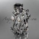 14k white gold diamond floral wedding ring, engagement set with a Black Diamond center stone ADLR238