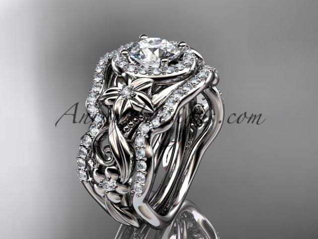 Platinum diamond unique engagement set with a Moissanite center stone ADLR300