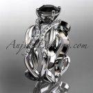 Platinum diamond engagement ring with a Black Diamond center stone ADLR264