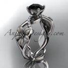 14kt white gold diamondg engagement ring with a Black Diamond center stone ADLR270