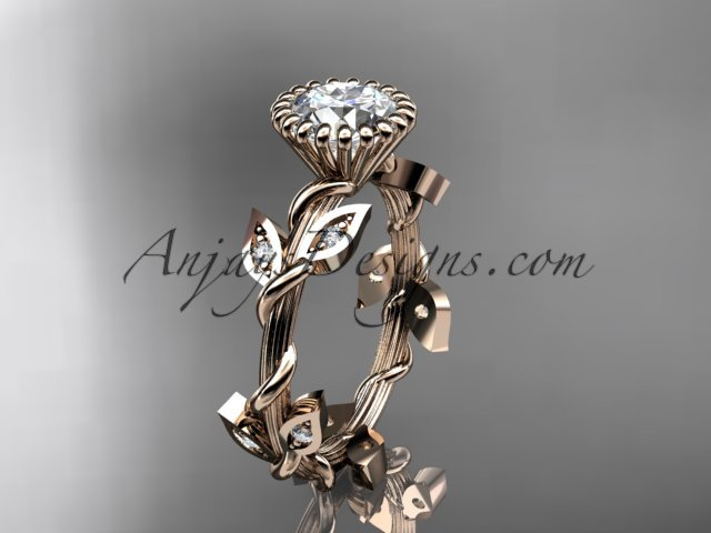 14kt rose gold diamond leaf and vine engagement ring with a  Moissanite center stone ADLR20A