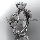 Unique platinum diamond floral leaf and vine wedding ring, engagement ring ADLR270