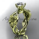 Unique 14kt yellow gold diamond floral leaf and vine wedding ring, engagement ring ADLR270