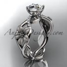 Unique 14kt white gold diamond floral leaf and vine wedding ring, engagement ring ADLR270