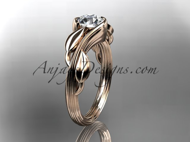 14kt rose gold engagement ring with a Forever One Moissanite center stone ADLR273