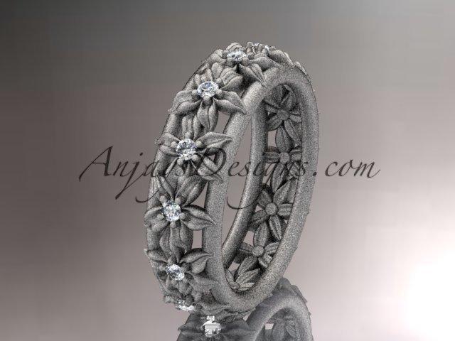 14kt white gold diamond flower wedding ring, engagement ring, wedding band ADLR163