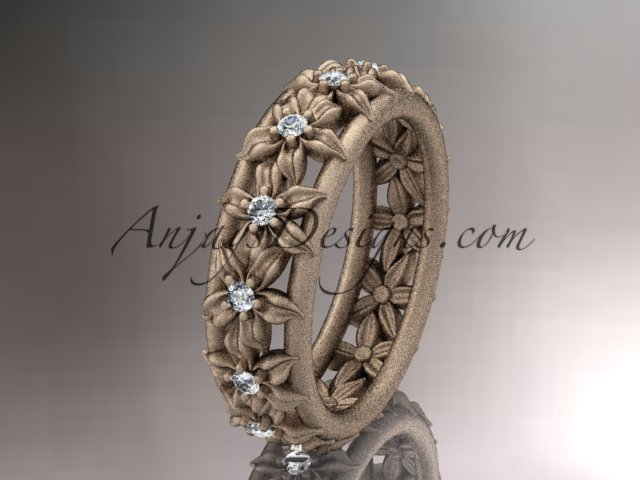 14kt rose gold diamond flower wedding ring,engagement ring,wedding band ADLR163