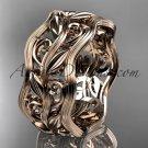 14kt rose gold leaf and vine wedding ring, engagement ring, wedding band ADLR263