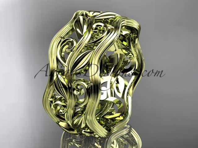 14kt yellow gold leaf and vine wedding ring, engagement ring, wedding band ADLR263